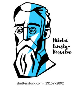 Nikolai Rimsky-Korsakov engraved portrait with ink contours. Russian composer, and a member of the group of composers known as The Five. He was a master of orchestration.
