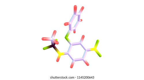 Nimesulide is a nonsteroidal anti-inflammatory drug or NSAID with pain medication and fever reducing properties. 3d illustration