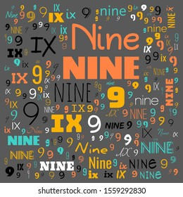 nine (9) number word cloud, word cloud use for banner, painting, motivation, web-page, website background, t-shirt & shirt printing, poster, gritting, wallpaper (illustration)
