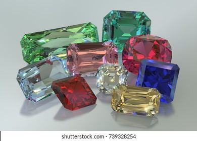 Nine colorful jewels, ruby, diamond, sapphire, emerald, garnet, topaz, peridot, aquamarine, tourmaline. Rectangle, square, oval, rhomboid cut shapes. Close-up on white. 3D rendering illustration.