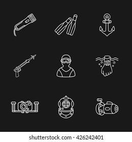 nine cute diving icons