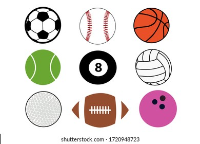 nine different kinds of sports balls