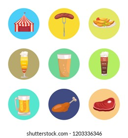 Nine images of octoberfest  illustration including red marketing tent, sausage on folk, beer glasses and food represented by meat and snacks
