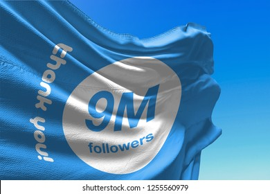 Nine Million Followers, 9000000, Flag Waving, 9M, Thank You, Number, Blue Background, Concept Image, 3D Illustration