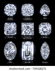 Nine the most popular diamond shapes - round, cushion, pear, radiant, princess, asscher, oval, emerald, marquise. Closeup with style names, isolated on black background. 3D rendering illustration