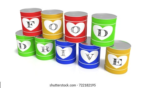 Nine stacked tin cans in different colors each with a letter of the words food drive charity 3D illustration