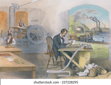 Nineteen century life was changed by steam power and electricity that powered the steam press electric telegraph locomotive and steamboat 1876 lithograph with modern watercolor.