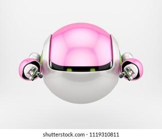 Ninja bot, master of invisibility. 3d illustration