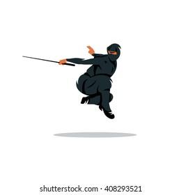 Ninja Cartoon Illustration. Warrior in black dress sword strikes in a jump. Branding Identity Corporate unusual Logo isolated on a white background