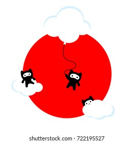 Ninja cats in the sky (Japanese edition). Funny cute kawaii illustration of three ninja cats hiding in clouds over a bright red Sun and a white background (Japanese flag).