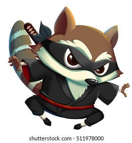 Ninja KungFu Raccoon isolated on White Background. Video Game's Digital CG Artwork, Concept Illustration, Realistic Cartoon Style Background and Character Design