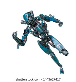 ninja robot in fast run in a white background. This cyber soldier in clipping path is very useful for graphic design creations, 3d illustration