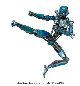 ninja robot in jumping up in a white background rear view. This cyber soldier in clipping path is very useful for graphic design creations, 3d illustration