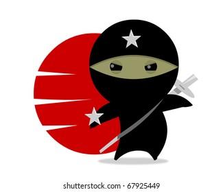 NINJA STAR Little ninja character. Digital Illustration.