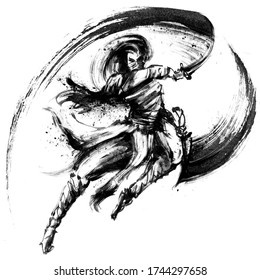 A ninja with two daggers in an epic jump pose, makes a cut with splashes in the air, with an ink trail. 2D illustration.