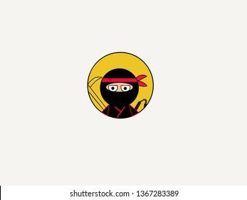 Ninja warriors cartoon illustration  Icon