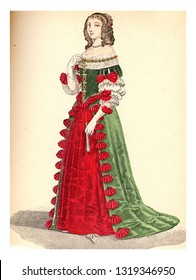 Ninon de Lenclos, vintage engraved illustration. 12th to 18th century Fashion By Image.