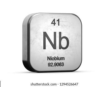 Niobium element from the periodic table series. Metallic icon set 3D rendered on white background