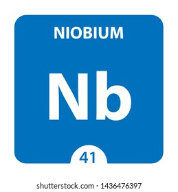 Niobium symbol. Sign Niobium with atomic number and atomic weight. Nb Chemical element of the periodic table on a glossy white background. Experiments in the laboratory. science ant technology