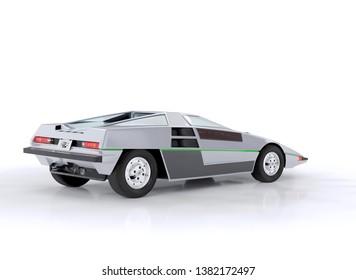 Nissan Dome Zero 1978 futuristic concept car, three-dimensional raster illustration. 3d rendering.