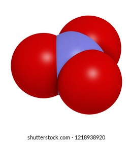 Nitrate anion, chemical structure. 3D rendering. Atoms are represented as spheres with conventional color coding: nitrogen (blue), oxygen (red).
