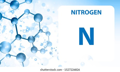 Nitrogen 7 element. Alkaline earth metals. Chemical Element of Mendeleev Periodic Table. Nitrogen in square cube creative concept. Chemical, laboratory and science background for university college