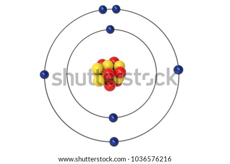 Nitrogen Atom Bohr Model Proton Neutron Stock Illustration