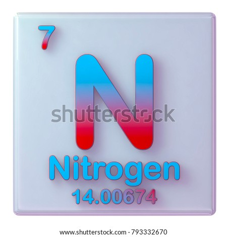 nitrogen chemical element number 7 of the periodic table of the elements 3d illustration
