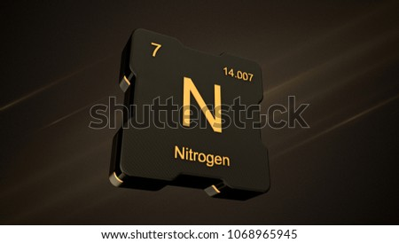 nitrogen element number 7 from the periodic table on futuristic black icon and nice lens flare