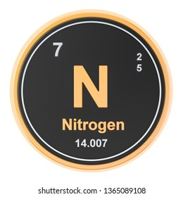 Nitrogen N chemical element. 3D rendering isolated on white background