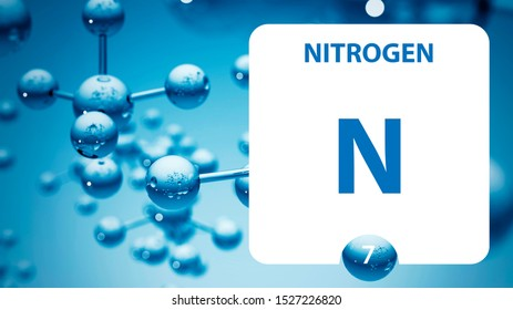 Nitrogen N, chemical element sign. 3D rendering isolated on white background. Nitrogen chemical 7 element for science experiments in classroom science camp laboratory. laboratory, science concept