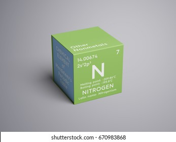 Nitrogen. Other Nonmetals. Chemical Element of Mendeleev's Periodic Table. Nitrogen in square cube creative concept.