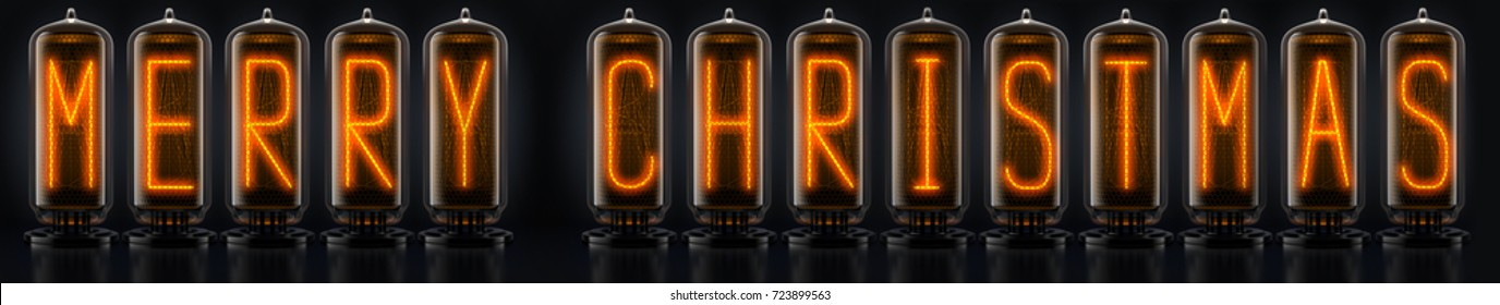 nixie tube digits Merry christmas on black background 3d rendering