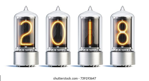 Nixie tube indicator with 2018 new year numbers on white background - 3d rendering