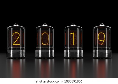 Nixie tube indicator, lamp gas-discharge indicator on dark background. The number 2019 of retro. 3d rendering