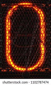 Nixie tube indicator, lamp gas-discharge indicator close-up. Number zero of retro. 3d rendering.