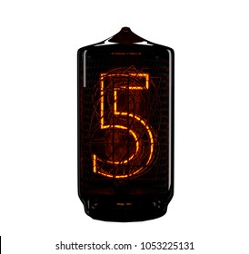 Nixie tube indicator. The number five of retro. 3d render.