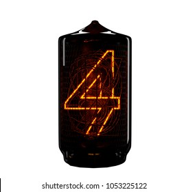 Nixie tube indicator. The number four of retro. 3d render.