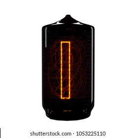 Nixie tube indicator. The number One of retro. 3d render.