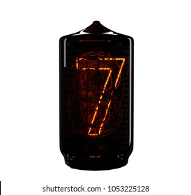 Nixie tube indicator. The number seven of retro. 3d render.