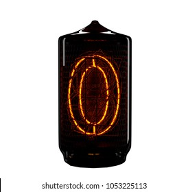Nixie tube indicator. The number zero of retro. 3d render.