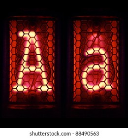 "Nixie tube indicator set of letters the whole alphabet. The letter ""A""."