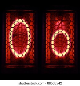 "Nixie tube indicator set of letters the whole alphabet. The letter ""O""."