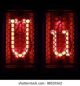 "Nixie tube indicator set of letters the whole alphabet. The letter ""U""."