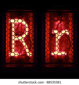 "Nixie tube indicator set of letters the whole alphabet. The letter ""R""."