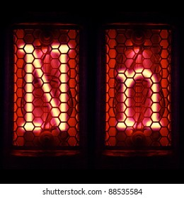 "Nixie tube indicator set of letters the whole alphabet. The letter ""N""."
