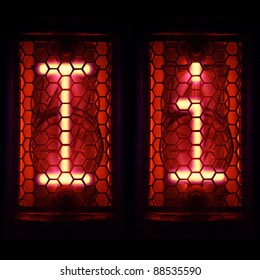 "Nixie tube indicator set of letters the whole alphabet. The letter ""I""."