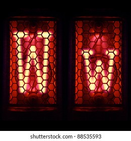 "Nixie tube indicator set of letters the whole alphabet. The letter ""W""."