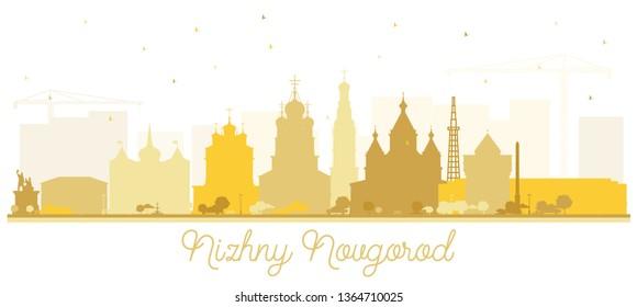 Nizhny Novgorod Russia City Skyline Silhouette with Golden Buildings Isolated on White Background. Tourism Concept with Historic Architecture. Nizhny Novgorod Cityscape.
