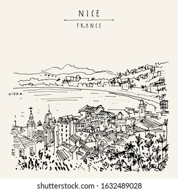 Nizza (Nice), France, Europe. Cozy European town on French Riviera, waterfront. Mediterranean sea. Hand drawing. Travel sketch. Vintage touristic postcard, poster or artistic book illustration